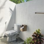 Wc with hand shower and toilet paper holder