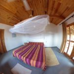fish eye view of the bedroom